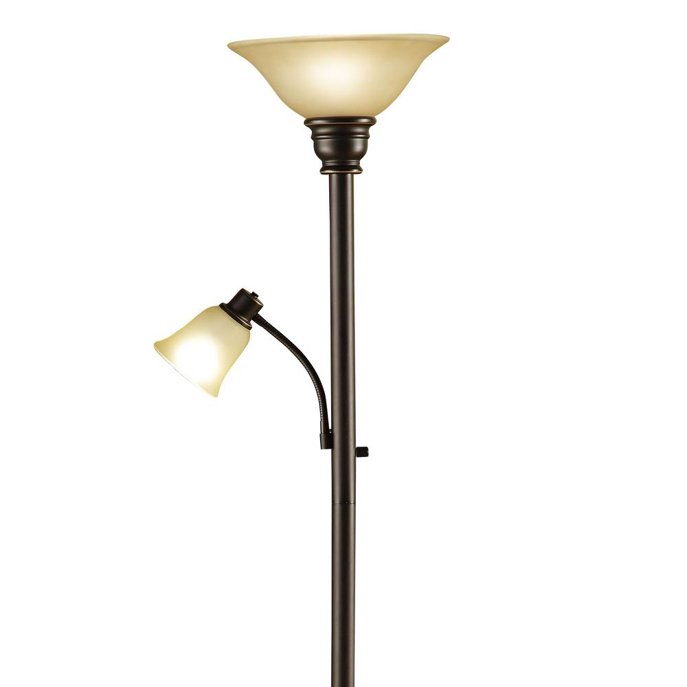Catalina Lighting 71 In Oil Rubbed Bronze Torchiere Floor Lamp With Adjule Reading Light