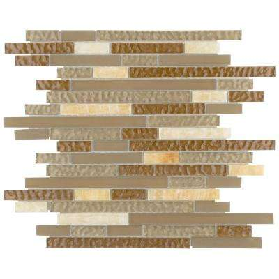 Tessera Piano Amber 11-3/4 in. x 11-7/8 in. x 8 mm Glass and Stone Mosaic Tile