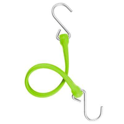 13 in. EZ-Stretch Polyurethane Bungee Strap with Stainless Steel S-Hooks (Overall Length: 18 in.) in Safety Green