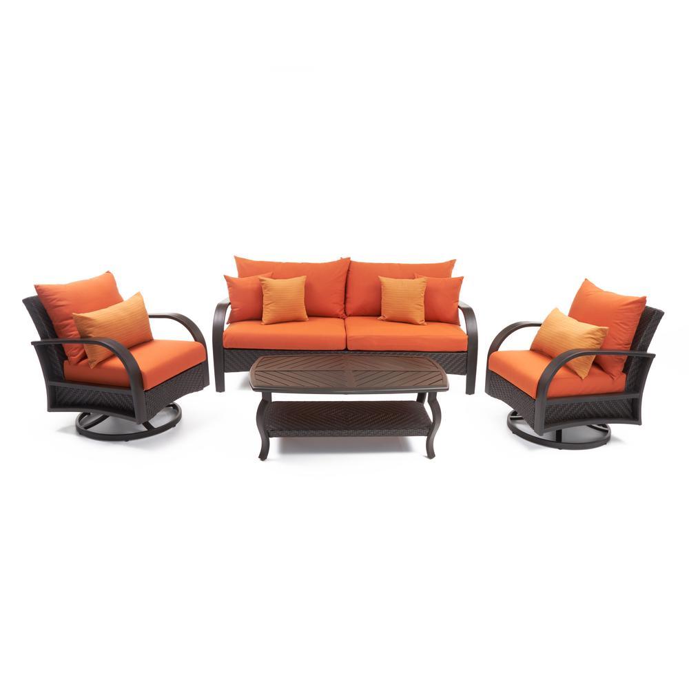 Barcelo 4-Piece Motion Wicker Patio Deep Seating Conversation Set with Sunbrella Tikka Orange Cushions