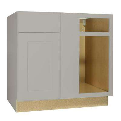 Shaker Assembled 36x34.5x24 in. Blind Base Corner Kitchen Cabinet in Dove Gray