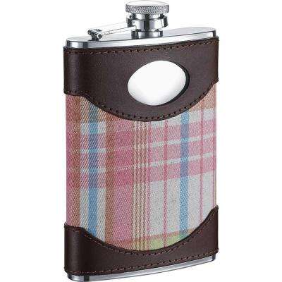 Hannah Leather and Pink Plaid Liquor Flask