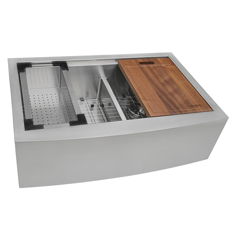 Ruvati Apron Front Stainless Steel 36 In. 16 Gauge Workstation 50/50