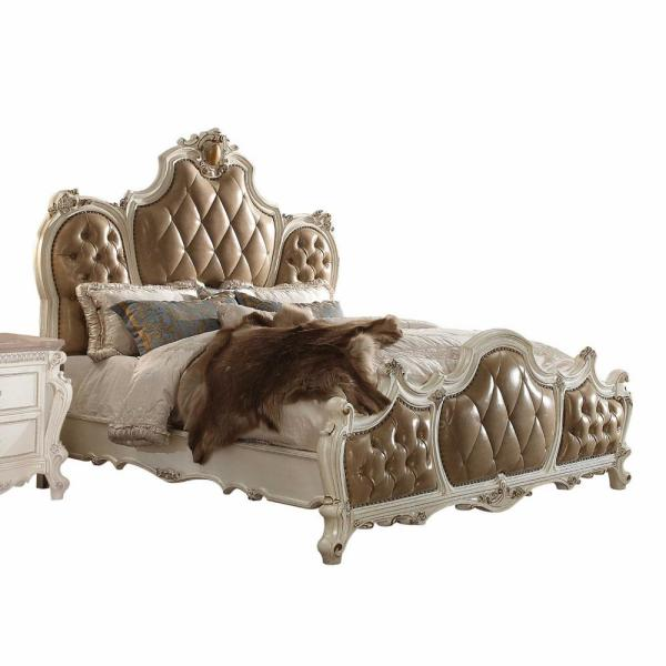 Amelia Antique Pearl Beige with Nailhead Trim King Bed