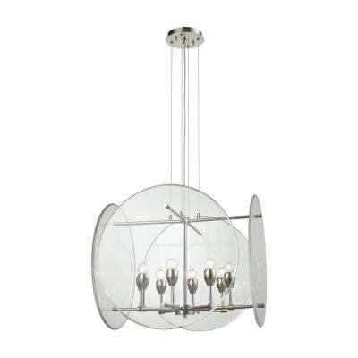 Disco 8-Light Polished Nickel Chandelier with Clear Acrylic Panel Shades