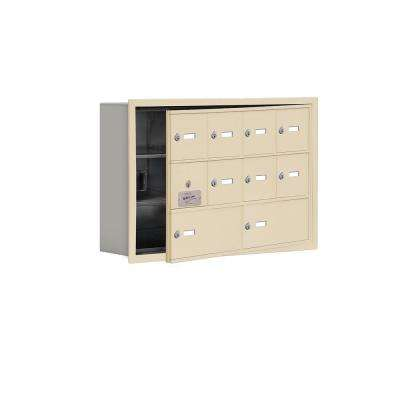 19100 Series 29.25 in. W x 18.75 in. H x 5.75 in. D 9 Doors Cell Phone Locker R-Mount Keyed Locks in Sandstone