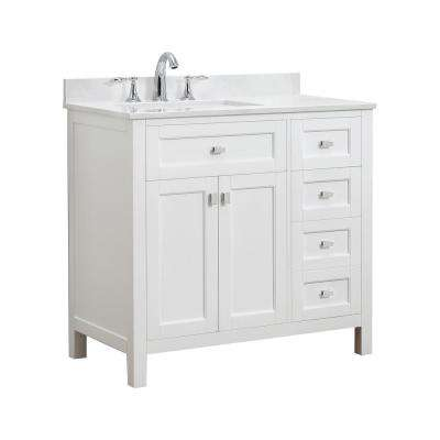 Juniper 36 in. W x 21 in. D Bath Vanity in White with Engineered Marble Vanity Top in Yves White with White Basin