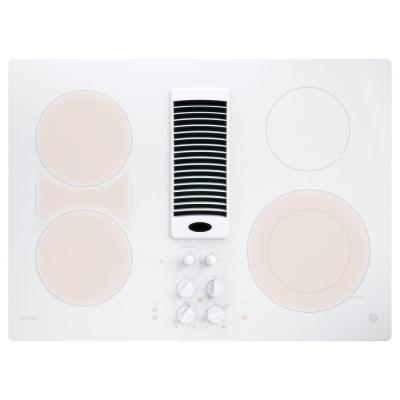 Profile 30 in. Radiant Electric Downdraft Cooktop in White with 4 Elements with Rapid Boil