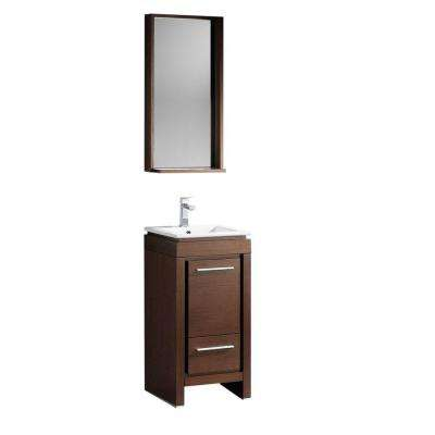 Allier 16 in. Vanity in Wenge Brown with Ceramic Vanity Top in White with White Basin and Mirror
