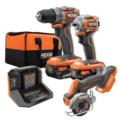 18-Volt SubCompact Lithium-Ion Brushless Drill Kit with 3/8 in. Impact Wrench and 3 in. Multi-Material Saw