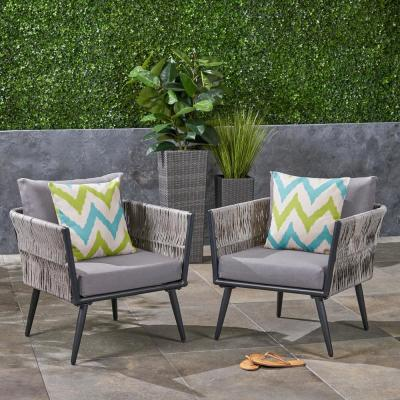 Oceanus Black Aluminum and Light Gray Wicker Armed Outdoor Lounge Chair with Dark Gray Cushions (2-Pack)