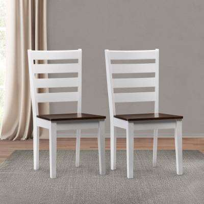 Memphis White and Brown Duotone Solid Wood Dining Chairs with Horizontal Slats (Set of 2)