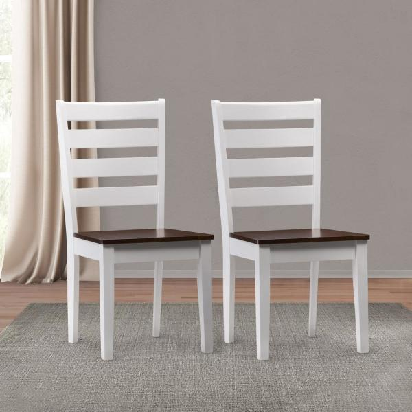 Corliving Memphis White And Brown Duotone Solid Wood Dining Chairs With Horizontal Slats Set Of 2 Drh 101 C The Home Depot