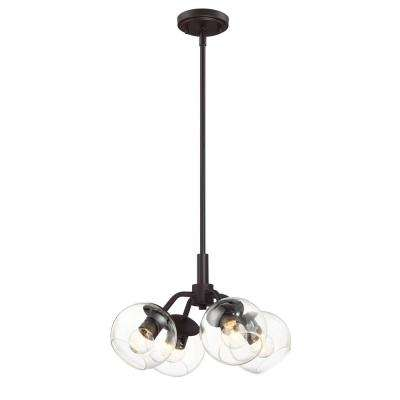 Meridian 4-Light Satin Bronze Interior Convertible Pendant Semi-Flushmount
