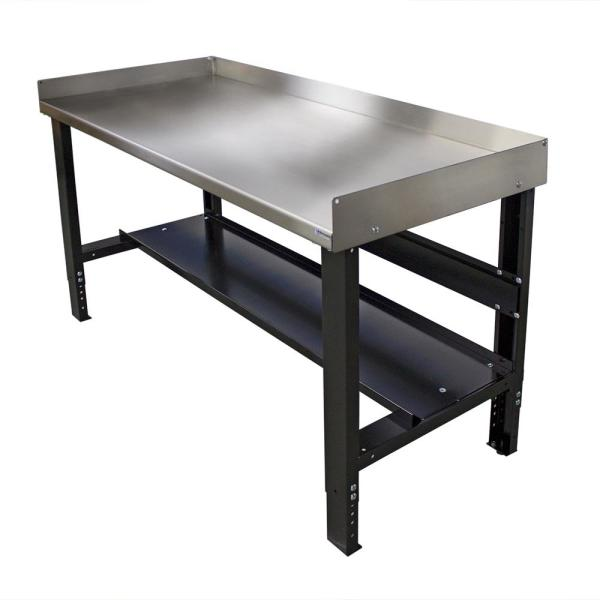 28 in. x 48 in. Heavy-Duty Adjustable Height Workbench with Stainless Steel Top with Edge Guards and Bottom Shelf