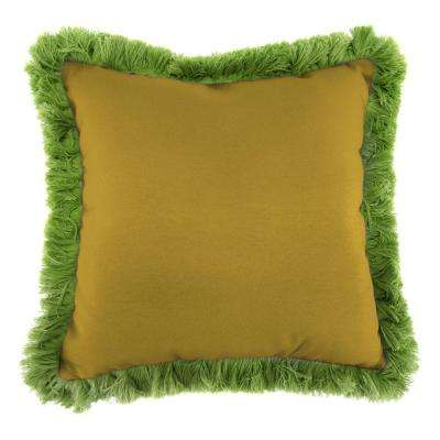 Sunbrella Canvas Maize Square Outdoor Throw Pillow with Gingko Fringe