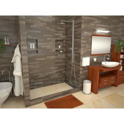 WonderFall Trench 32 in. x 60 in. Single Threshold Shower Base with Right Drain and Tileable Trench Grate