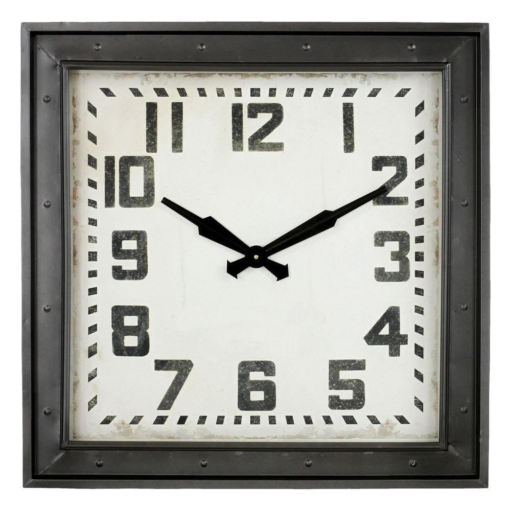 Westford Dark Gray Square Wall Clock