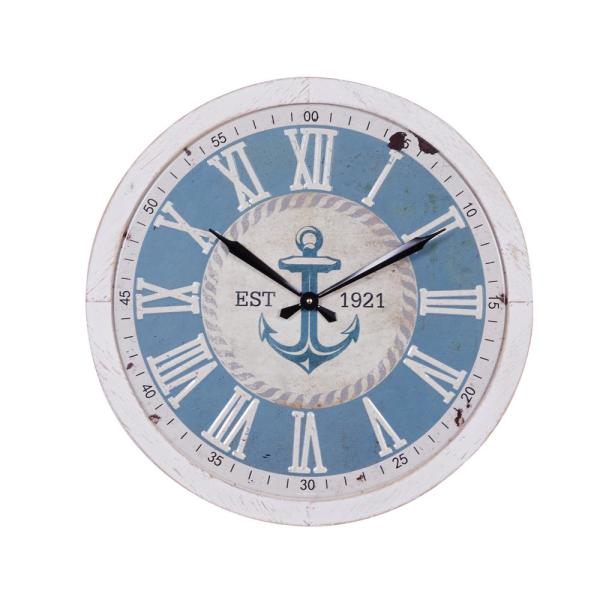 23.75 in. x 23.75 in. Large Round Blue and White Anchor Wood Wall Clock With Distressed White Rim