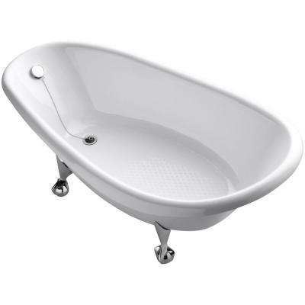 Birthday Bath 6 ft. Porcelain-Enameled Cast Iron Claw Foot Reversible Drain Bathtub in White