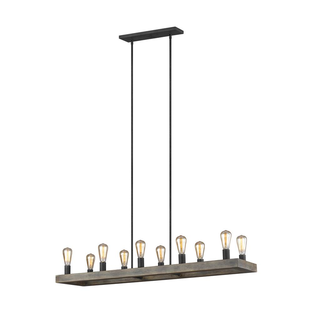 Avenir 10-Light Weathered Oak Wood and Antique Forged Iron Island Chandelier
