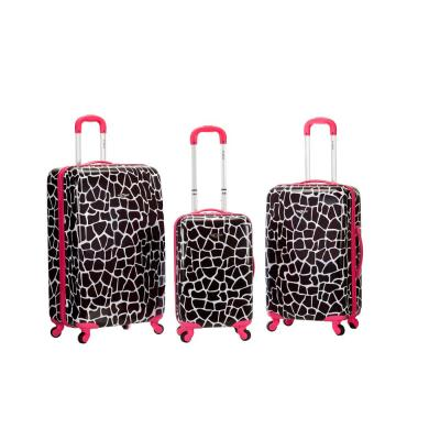Pink Giraffe Rockland Patterned Expandable Carry-On Luggage with Spinner Wheels
