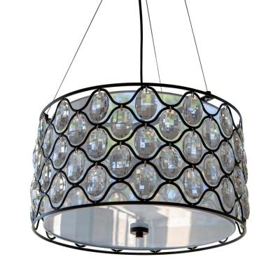 Claire 3-Light Crystal and Black Steel Framework Drum Pendant