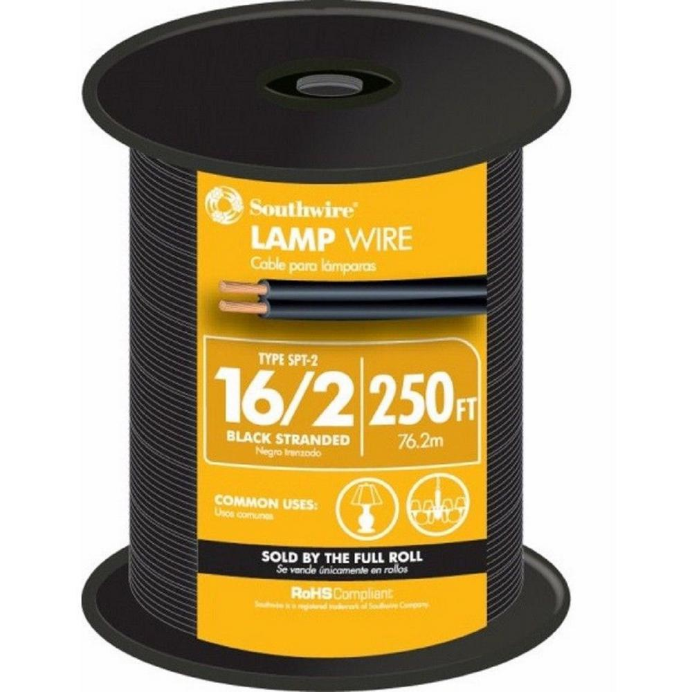 Southwire 250 Ft 16 2 Black Stranded Cu Spt Lamp Wire 55681844 Pre Wired Wiring Kits