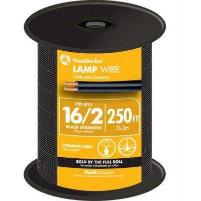 250 ft. 16/2 Black Stranded CU SPT-2 Lamp Wire