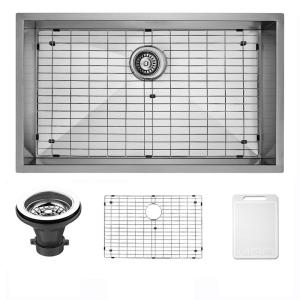 Undermount 30 In. Single Bowl Kitchen Sink With Grid And Strainer In  Stainless Steel