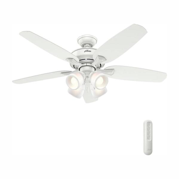 Hunter Channing 52 In Led Indoor Snow White Ceiling Fan With Light Bundled Handheld Remote Control 52078r The Home Depot