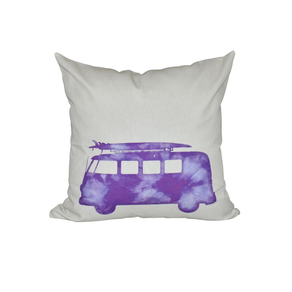 16 in. x 16 in. Purple BeachDrive Geometric Print Pillow