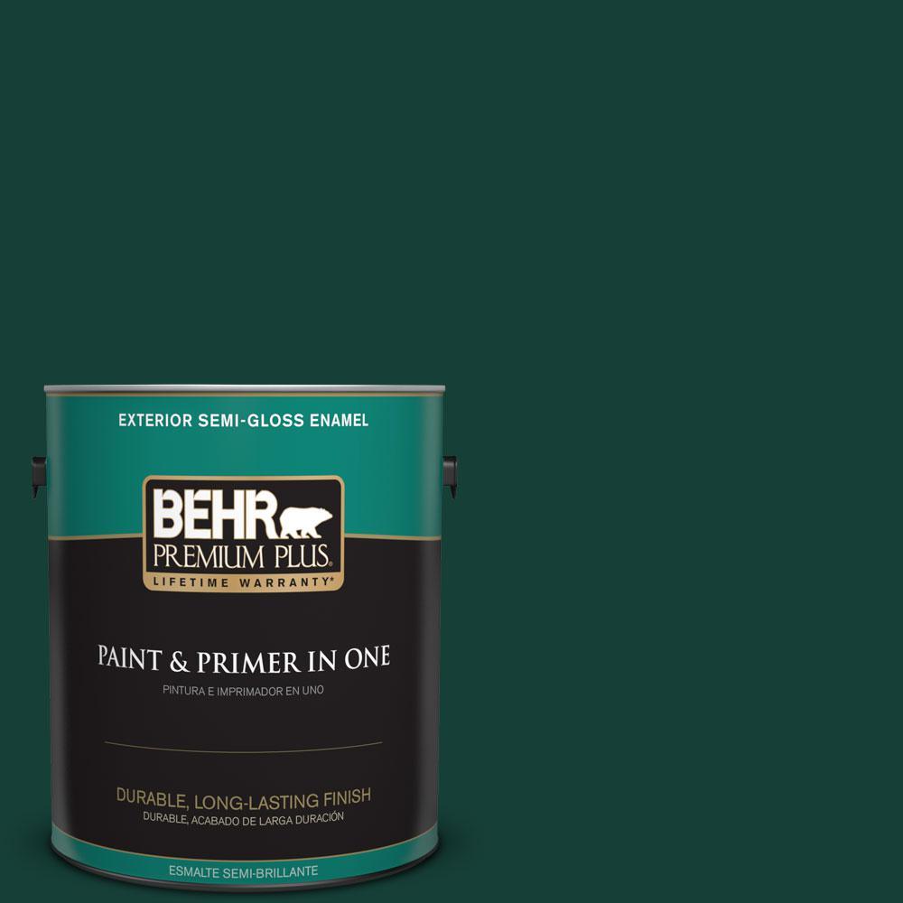 BEHR Premium Plus 1-gal. #ECC-51-3 Hidden Forest Semi-Gloss Enamel Exterior Paint