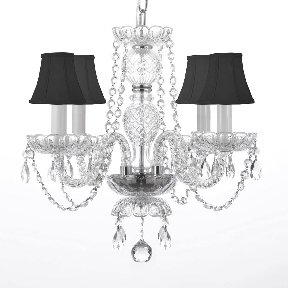 4 Light Venetian Style Empress Crystal Chandelier With Black Shades