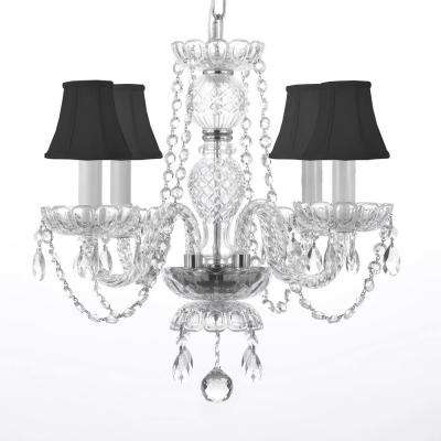 4-Light Venetian Style Empress Crystal Chandelier with Black Shades