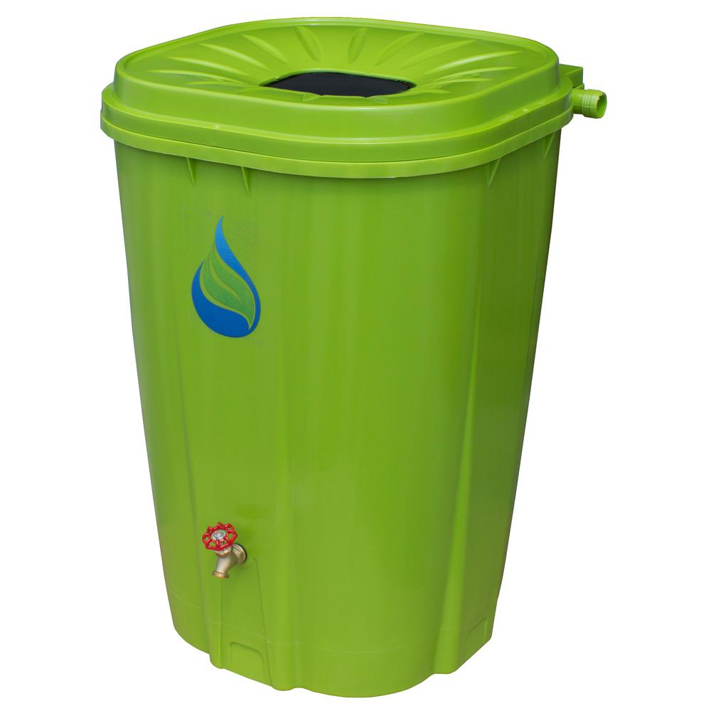 55 Gal. Rain Barrel Green with Brass Spigot