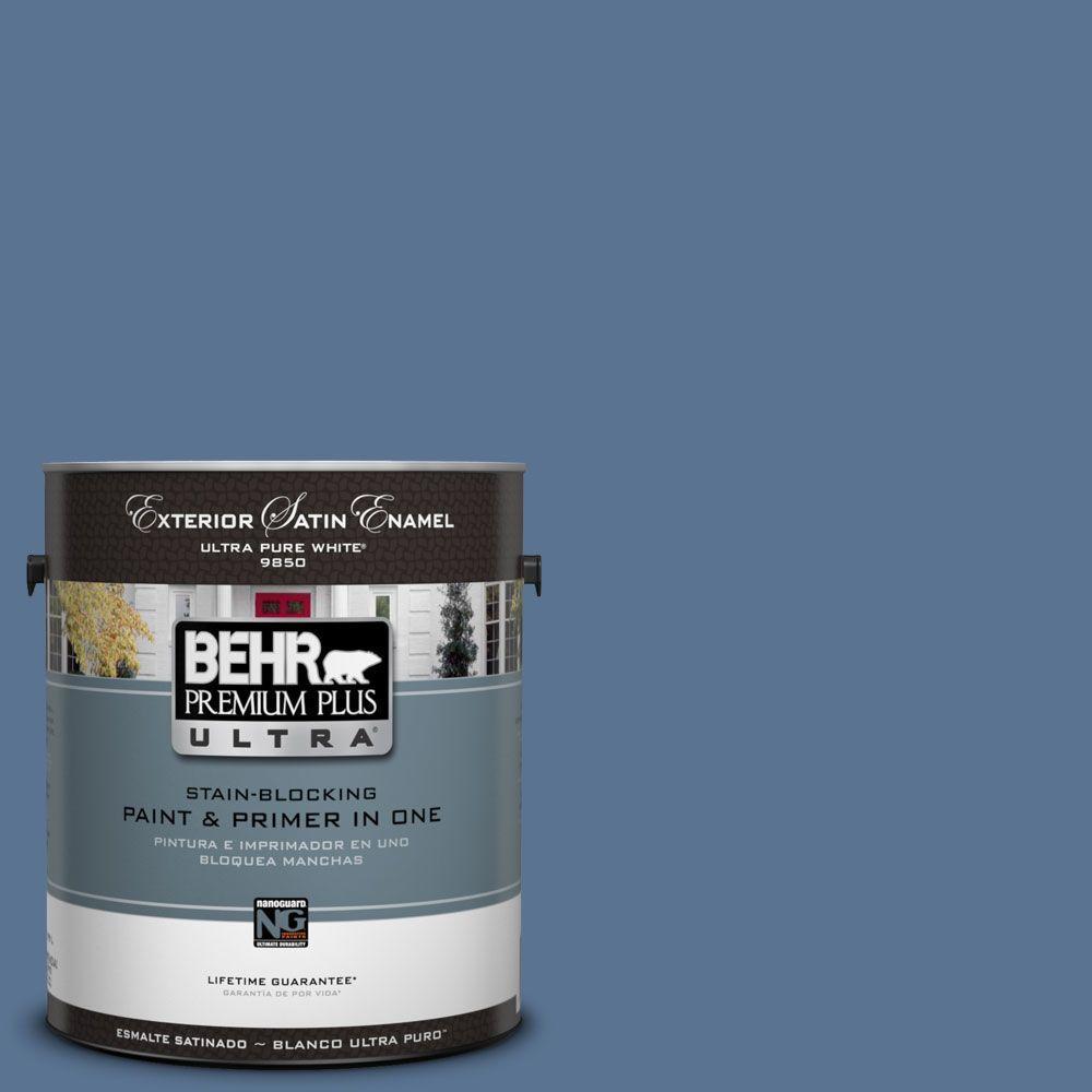 Behr Premium Plus Ultra 1 Gal Ul240 19 Laguna Blue Satin Enamel Exterior Paint 985301 The