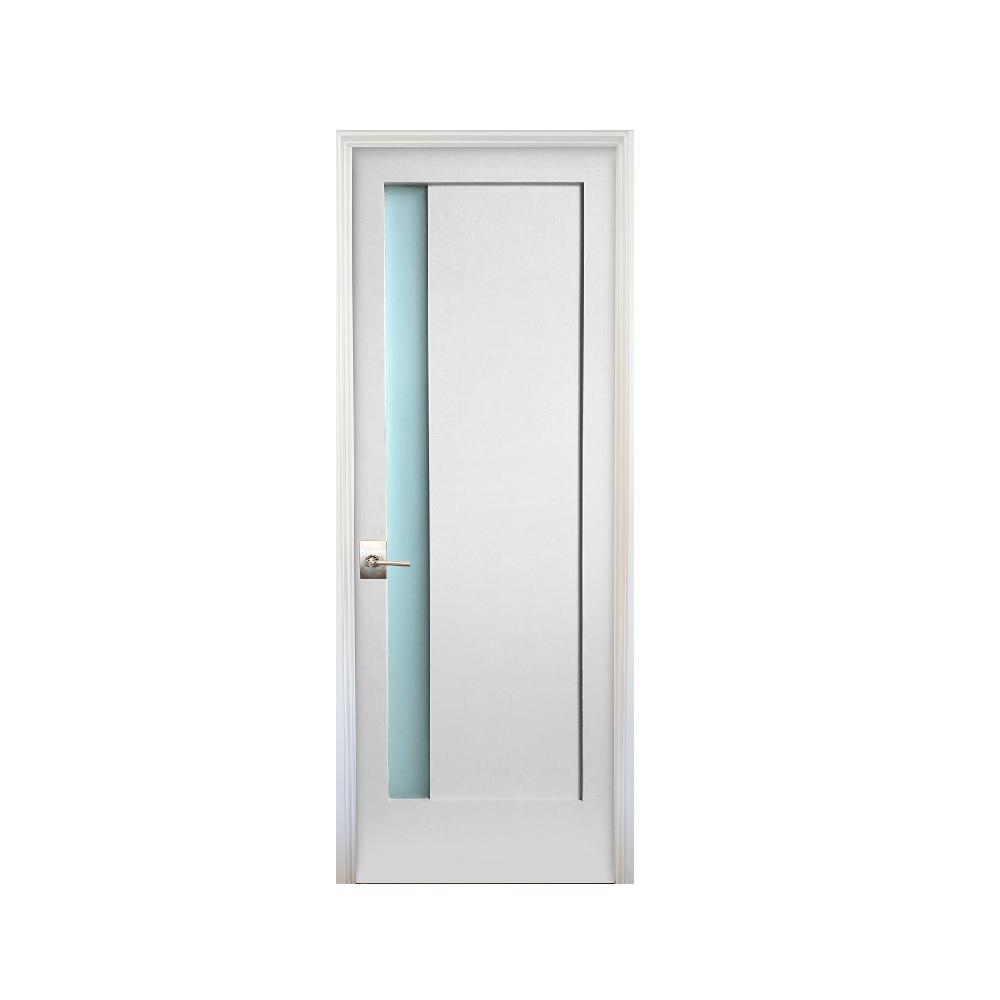 Exceptionnel 1 Lite Narrow Satin Etch Primed Left Handed Solid Core MDF Single Prehung  Interior Door