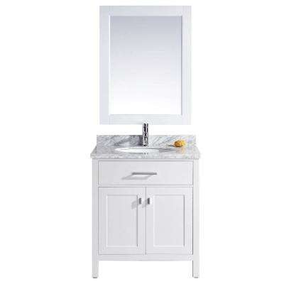 London 30 in. W x 22 in. D Single Vanity in White with Marble Vanity Top and Mirror in Carrara White