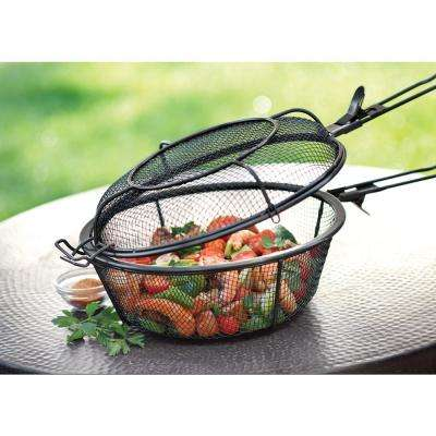 Chef's Jumbo Outdoor Grill Basket with Removable Handles Non-Stick