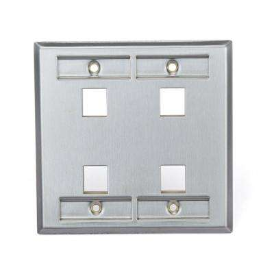 2-Gang QuickPort Standard Size 4-Port Wallplate with ID Windows, Stainless Steel