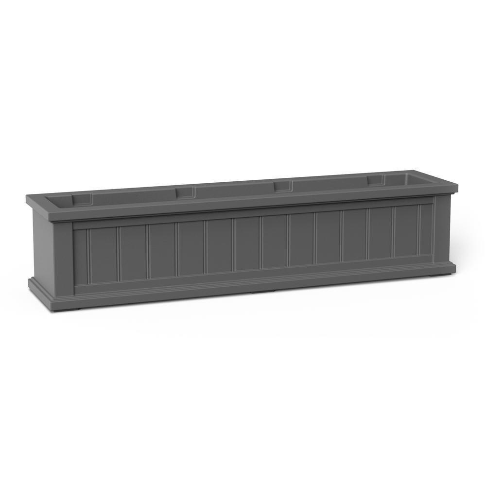 48 in. x 11 in. Graphite Grey Plastic Window Box