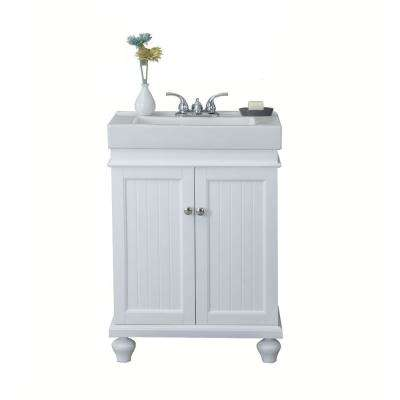 24 in. W x  34.5 in. H Vanity in Matt White with Ceramic Vanity Top in White with Ceramic Basin