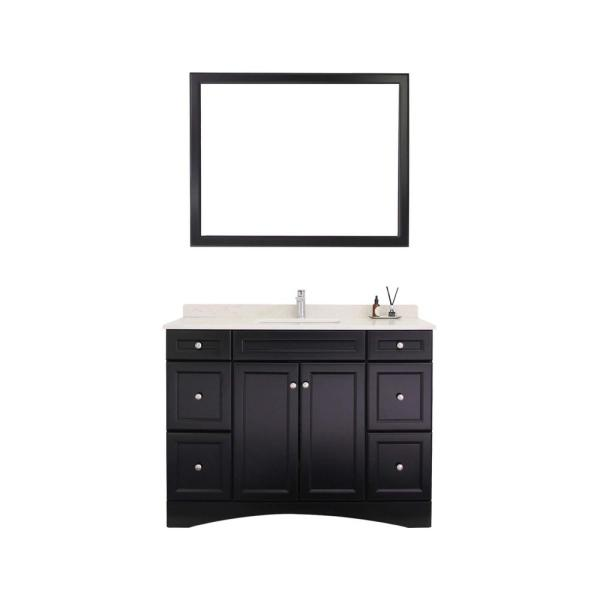 48 in. W x 22 in. D Vanity Cabinet Only with White Marble Countertop in Black Without Mirror