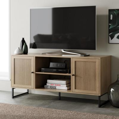 Mina 47 in. Oak and Black Composite TV Stand Fits TVs Up to 55 in. with Storage Doors