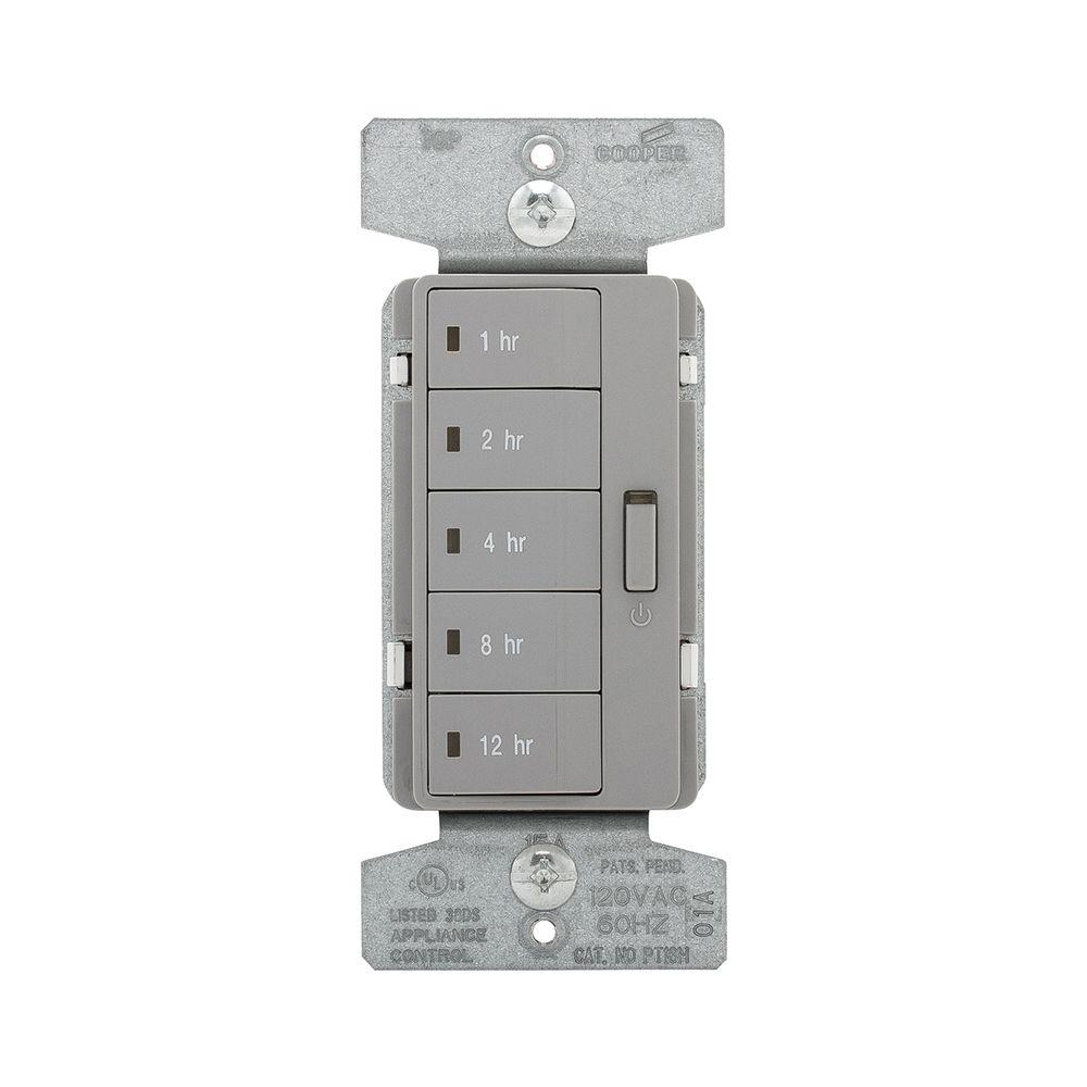 1800-Watt 15 Amp 5-Button Hour Timer with Off Single-Pole, Grey