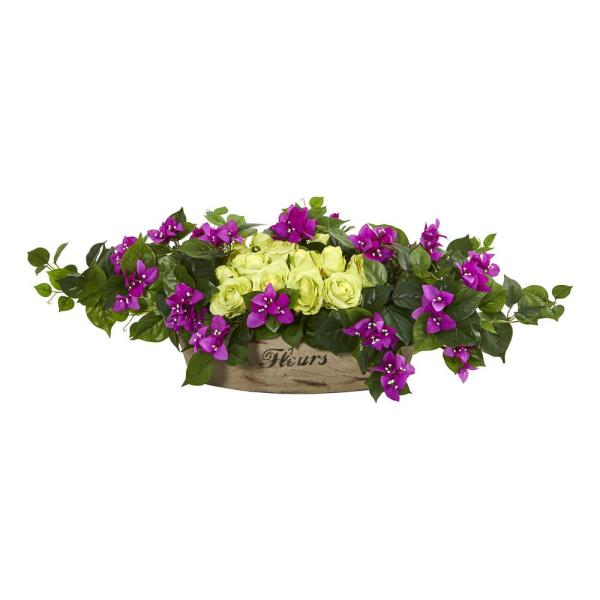Nearly Natural 35 in. Indoor Rose and Bougainvillea Artificial Arrangement