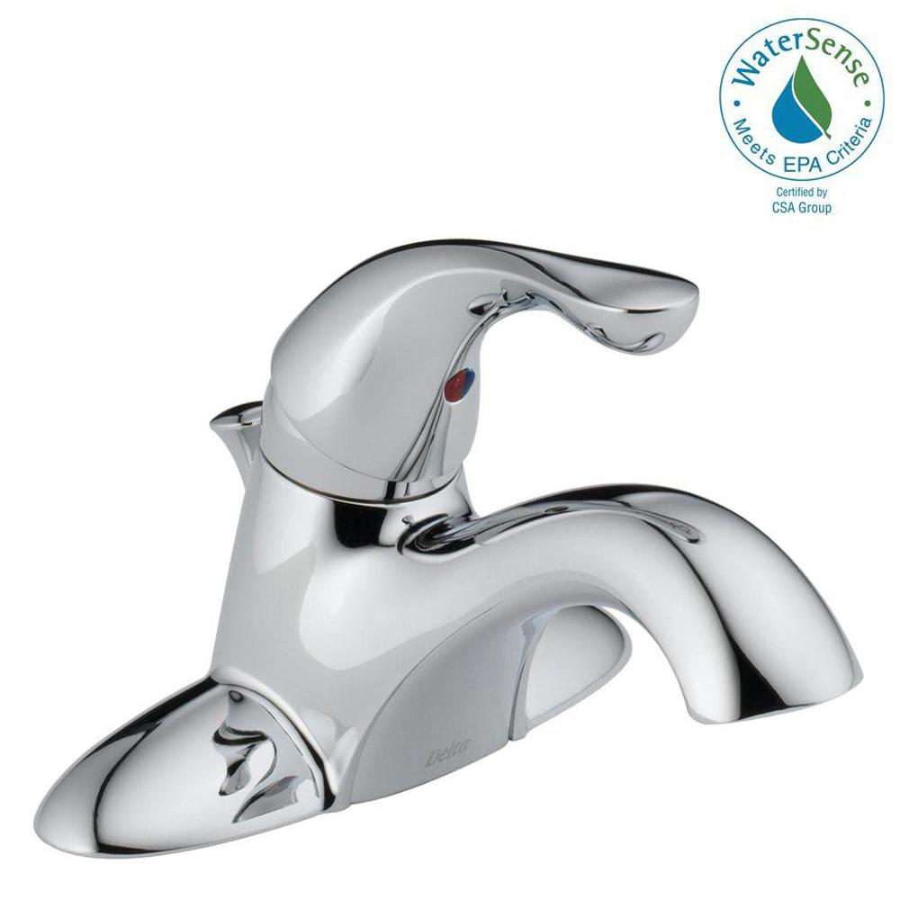 Classic 4 in. Centerset Single-Handle Bathroom Faucet with Metal Drain Assembly