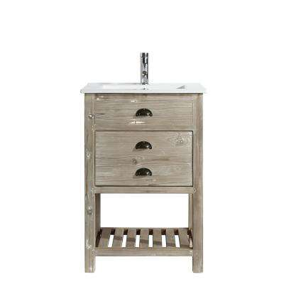 Asbury 24 in. W x 18.5 in. D Bath Vanity in Natural with Porcelain Vanity Top in White with White Basin