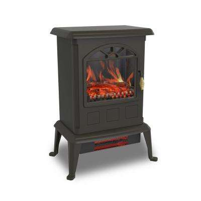 1100-Watt Traditional Electric Infrared Heater Stove, Black